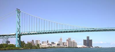 Ambassador Bridge - Detroit USA Canada - Royalty free stock photo, image