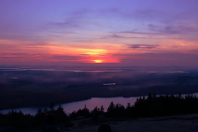 Sunset at Cadillac Mountains - Maine - Royalty free stock photo, image
