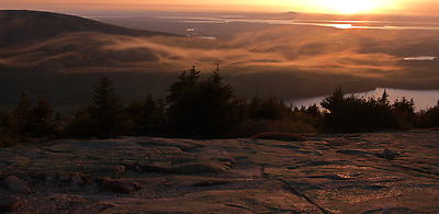 Sunset at Cadillac Mountains - Royalty free stock photo, image