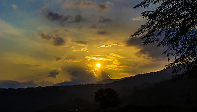 Sunset near Siliguri, India - Royalty free stock photo, image