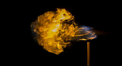 Flamethrower, achieved with the help of a candle and aerosol spey.  - Royalty free stock photo, image