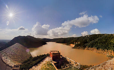 Dam on Ajadhya hills - Royalty free stock photo, image