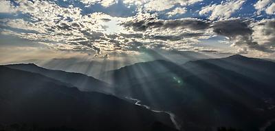 Penetrating Sun Rays - Royalty free stock photo, image