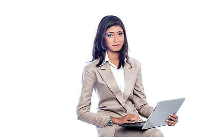 Business woman working on laptop - Royalty free stock photo, image