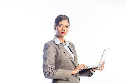Woman working on laptop - Royalty free stock photo, image