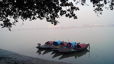 Ferry boats at banks of Ganga - Royalty free stock photo, image