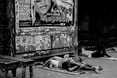 People sleeping on street - Royalty free stock photo, image