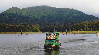 Boat ride at periyar lake - Kerala - Royalty free stock photo, image