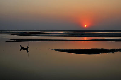 Sunset at Koshi river - Royalty free stock photo, image