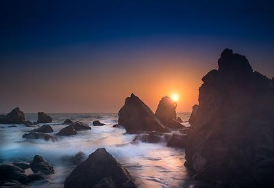 Sunset at beach - Royalty free stock photo, image