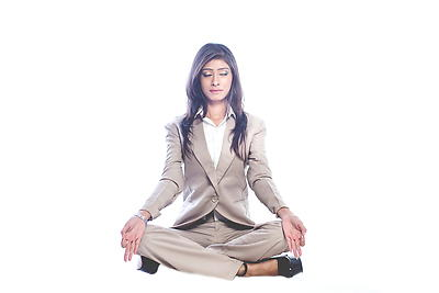 Workplace yoga - Royalty free stock photo, image