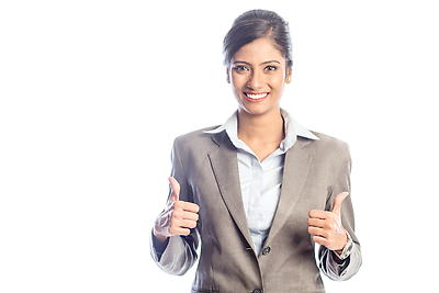 Woman showing thumbs up - Royalty free stock photo, image