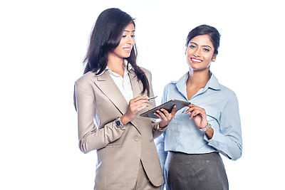 Women looking at tablet - Royalty free stock photo, image