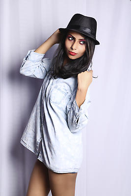 Girl in denim shirt and hat - Royalty free stock photo, image
