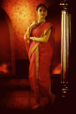 Peshawai.Indian woman in 9 yard saree - Royalty free stock photo, image