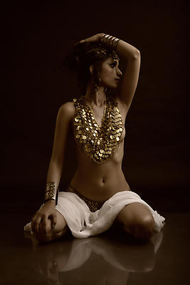 Seated Nude with jewelry - Royalty free stock photo, image