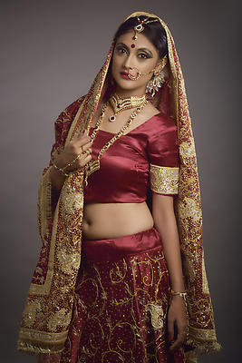 Bride in red - Royalty free stock photo, image