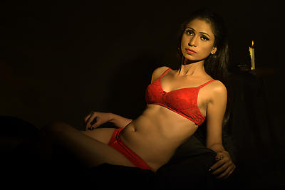 Woman in red lingerie - Royalty free stock photo, image