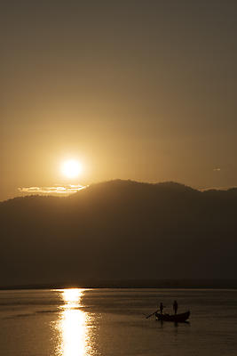 Sunrise at Rajamundhry in godavari river - Royalty free stock photo, image