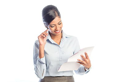 Young woman - Looking into documents and thinking - Royalty free stock photo, image