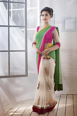 Indian woman wearing designer wear saree - Royalty free stock photo, image