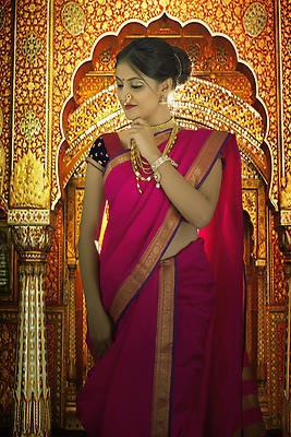 Indian woman in traditional nawari saree - Royalty free stock photo, image