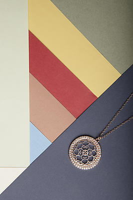 Necklace with abstract background - Royalty free stock photo, image
