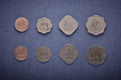 Old Indian Currency coins - Royalty free stock photo, image