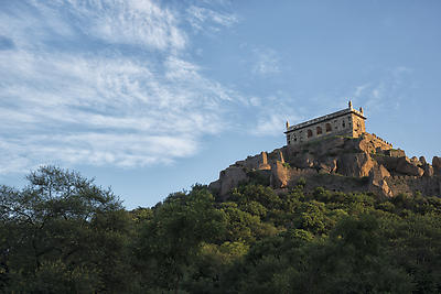 Golconda fort in golden hour light - Royalty free stock photo, image