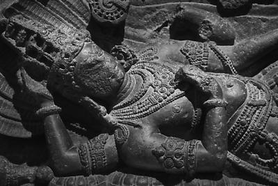 Reclining monolithic idol of Lord Vishnu - Royalty free stock photo, image