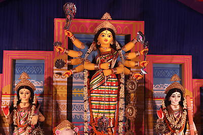 Durga idol during Durga Puja celebrations - Royalty free stock photo, image