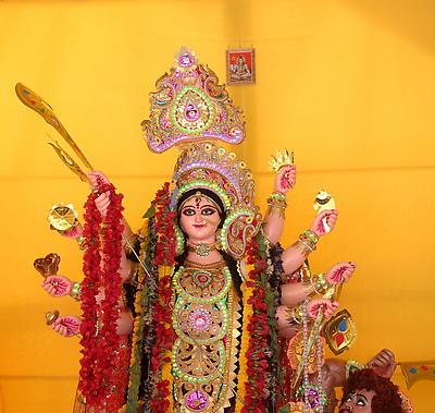 Durga Idol during Durga Puja celebration - Royalty free stock photo, image