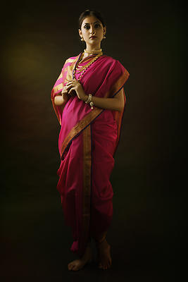 Indian woman in traditional Maharashtrian Saree called nauwari - Royalty free stock photo, image
