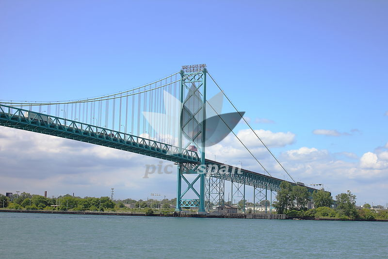 Ambassador Bridge - Detroit USA Canada - Royalty free stock photo, image