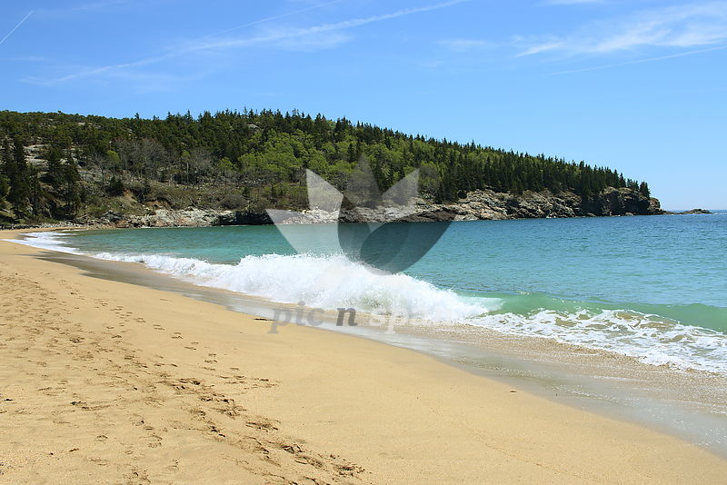 Acadia National Park - Green waters - Royalty free stock photo, image