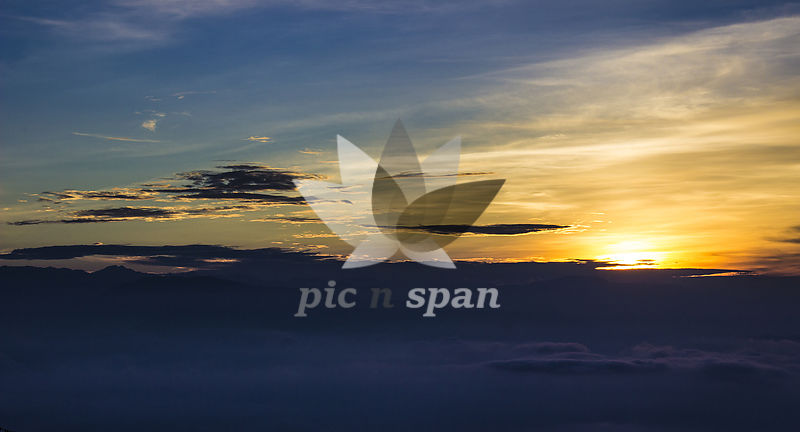 Sunrise at Tiger Hill, Darjeeling, West Bengal, India - Royalty free stock photo, image