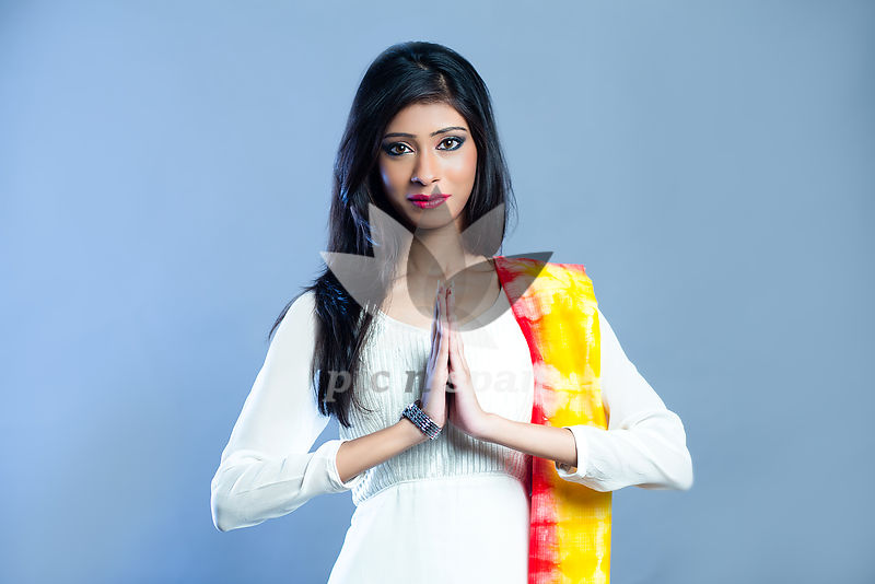 Greeting - Namaste - Royalty free stock photo, image