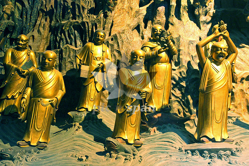 golden monks - Royalty free stock photo, image
