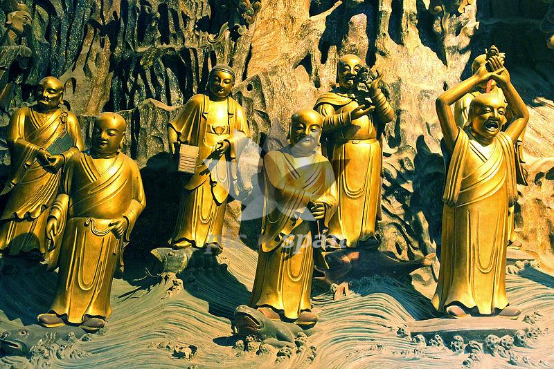 golden monks - Royalty free stock photo, image