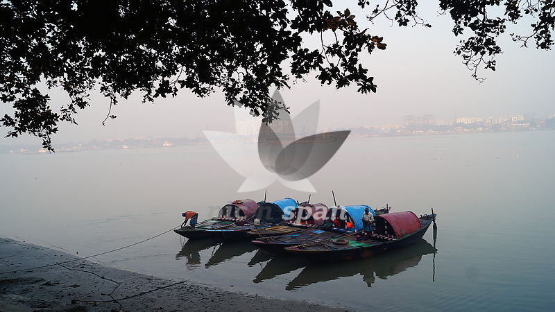 Ferry boats at banks of Ganga - Royalty free stock photo, image