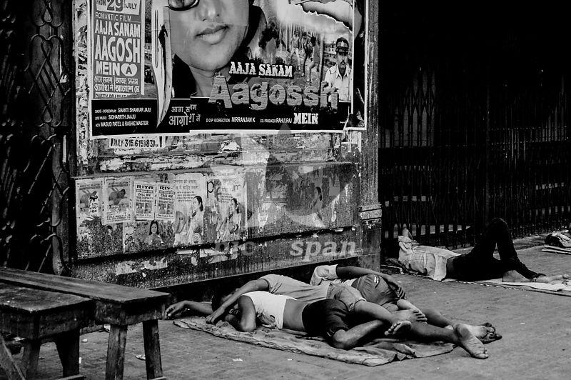 People sleeping on street - Royalty free stock photo, image