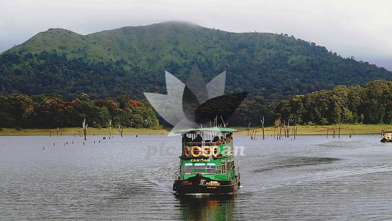 Boat ride at periyar lake - Kerala - Royalty free stock photo, image
