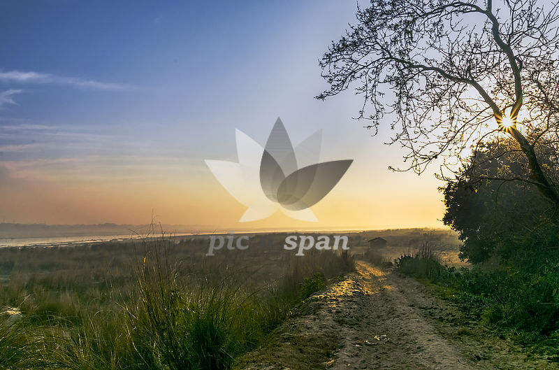 Damodar Valley in Morning Light - Royalty free stock photo, image