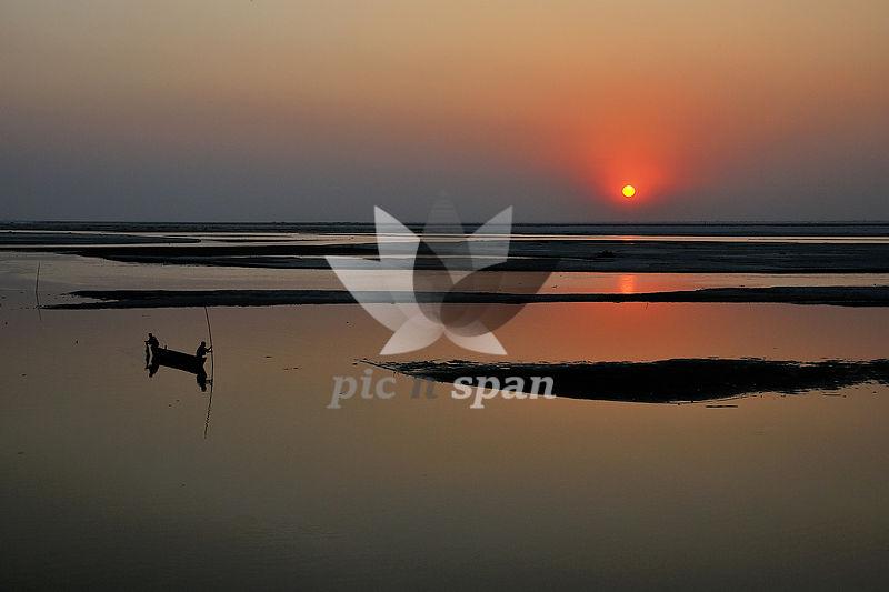Sunset at Koshi river - Royalty free stock photo, image