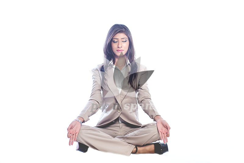 Workplace yoga - Royalty free stock photo, image