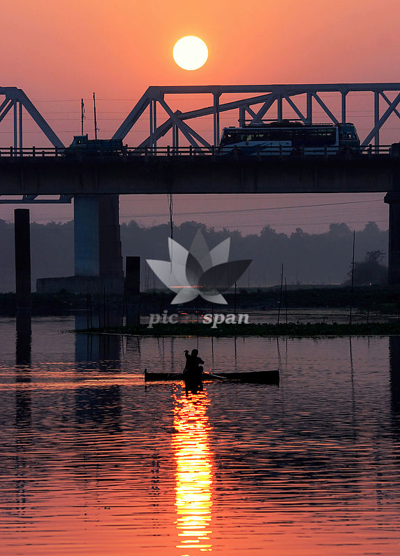 The man in a boat - Royalty free stock photo, image