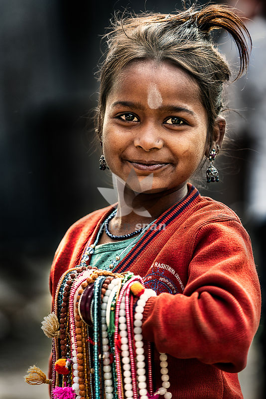 Muskan with her Merchandise - Royalty free stock photo, image