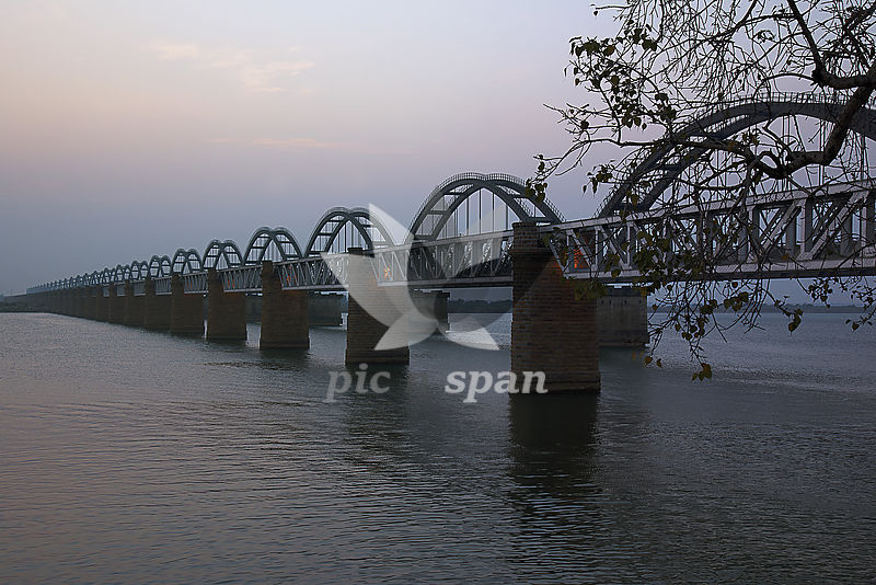 Railway bridge on river Godavari - Royalty free stock photo, image