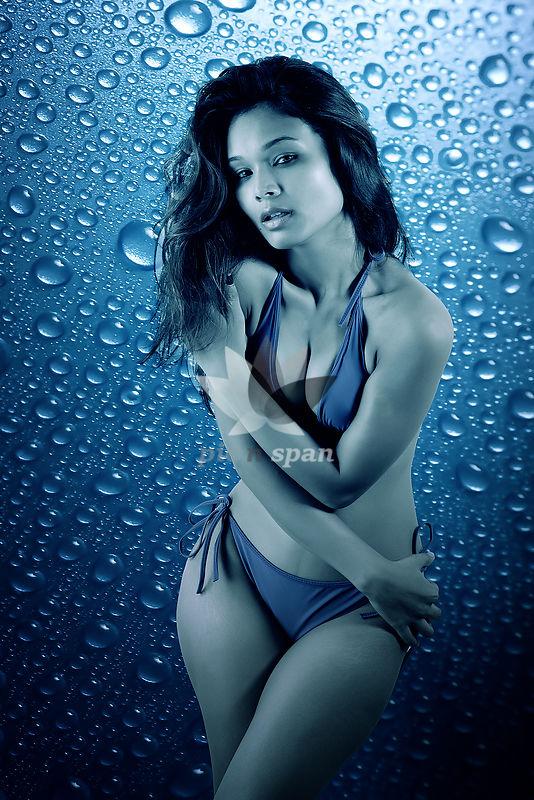 Lady in Blue Bikini - Royalty free stock photo, image