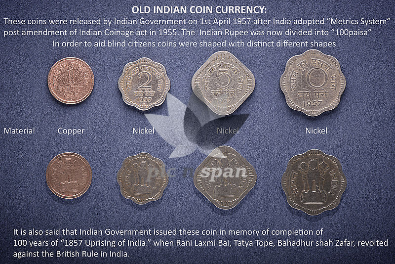 Old coin currency of India - Royalty free stock photo, image